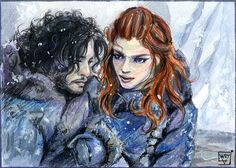 ACEO 101 Jon Snow and Ygritte/ Game of Thrones by WojikHell.deviantart.com on @DeviantArt