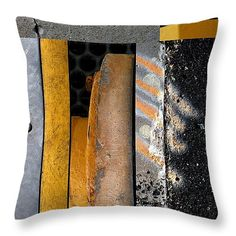 "Urban Abstract Seeing Double 13 Throw Pillow 14"" x 14"" by Marlene Burns"