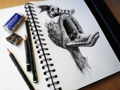 Creative Illustration, Amazing, Drawings, Pez, and Ducks image ideas & inspiration on Designspiration Cool Pencil Drawings, Really Cool Drawings, Sketchbook Drawings, Amazing Drawings, Drawing Sketches, Crazy Drawings, Amazing Artwork, Pencil Art, Drawing Ideas