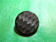 """1 - 1 & 1/8"""" DECORATIVE BLACK PLASTIC METAL SHANK BUTTON - VINTAGE Lot#PC29"""