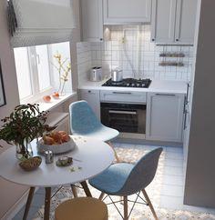 Small Apartment Interior, Small Apartment Kitchen, Small Apartment Design, Small Room Design, Kitchen Room Design, Home Room Design, Home Interior, Interior Design Kitchen, Farmhouse Kitchen Decor
