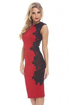 AX Paris Women's Crochet Lace Side Midi Red Dress(RED, Size:8)