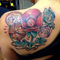 Alice In Wonderland flowers at The Dolorosa Tattoo Co.