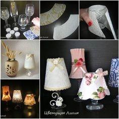más y más manualidades: Como hacer lamparas usando copas de cristal