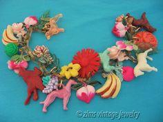 Vintage old Colorful celluloid Animal cherry fruit Flower CHARM chain BRACELET #VintageCharmBracelet