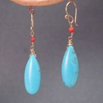 "ModGlam 141 CJD712 Red Coral with Turquoise Drop, about 1-1/4"" Available in either 14K Gold fill or Sterling Silver. All jewelry is entirely handmade in our studio in New York. Shipping included with price. All products guranteed to your satisfaction. Please remember to like our page on Facebook and follow us on Pinterest. Also check out our friends pages. Thank you"