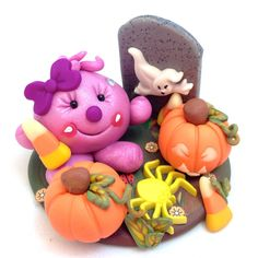 Halloween Graveyard Lolly Figurine Polymer Clay Mixed Media StoryBook Scene by KatersAcres - Ready for adoption! Comes with adoption certificate & paperwork.