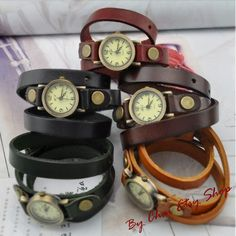 Women Watch - Wrap Leather Watch Bracelet Watch. $19.50, via Etsy.