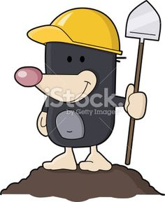 cute mole with shovel Royalty Free Stock Vector Art Illustration