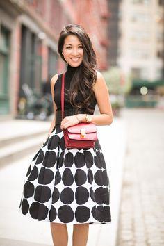 celine black and white print long skirt