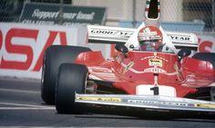 Niki Lauda racing the No. 1 Scuderia Ferrari 015 during the 1976 United States Formula One Grand Prix in Long Beach.