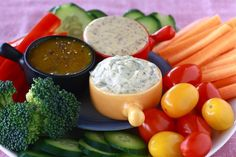 3 Simple Vegetable Dips - Basic honey mustard, Spicy honey whole-grain mustard, and Addicting dill dip