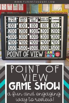 This game show on PowerPoint helps 4th grade, 5th grade and 6th grade students review reading comprehension.  This fun and engaging reading activity has short passages and students need to determine what point of view it is in.  Works on first person, 3rd person limited and 3rd person omniscient.  Includes 25 questions and  working scoreboard to keep students interested and review of test prep!  #reading #pointofview