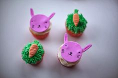 bunny cupcakes and grassy carrot cupcakes