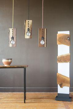 Black Walnut, Live Edge Lighting by Kayla Burke Design :: Handmade Lighting :: Driftwood Lamp, Wood Lamps, Kitchen Lighting Fixtures, Wall Sconce Lighting, Log Furniture, Furniture Design, Lamp Design, Lighting Design, Interior Design Elements