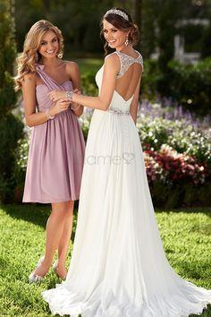Umgedrehtes Dreieck Strand Chiffon Prinzessin V-Ausschnitt drapiertes einfaches Brautkleid