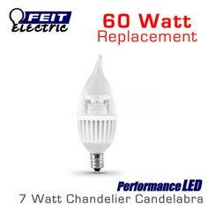 FEIT PerformanceLED Chandelier Candelabra Omni-Directional - 7 Watt - 500 Lumens - 60 Watt Equal - E12 Base