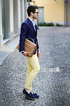 Such a playful way to work the classic navy blazer!!!