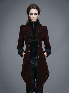 Veste gothique femme en velours bordeaux coupe en queue de pie DEVIL FASHION 1522477b78c