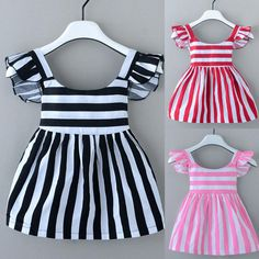 Newborn Kids Baby Girls Striped Pageant Party Dress Short Sleeve Casual Dresses - My list of the most beautiful baby products Baby Dress Design, Baby Girl Dress Patterns, Baby Girl Party Dresses, Little Girl Dresses, Dress Party, Party Party, Dress Girl, Frocks For Girls, Kids Frocks