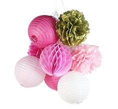 Pack of 10 Pink Fuchsia Gold Paper Decorations