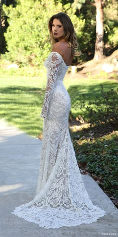 erin cole fall 2017 bridal off shoulder long sleeves beaded lace sheath wedding dress (antoinette) mv pointed train elegant More