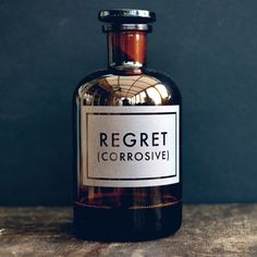 regret etched apothecary bottle | [vinegar and brown paper]®