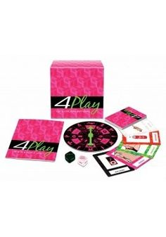 """4-Play Spinning Game In """"Wheel of Pleasure"""", spin to perform sexual fantasies on your lover. """"Foreplay Dice"""", has you roll the dice to perform erotic actions on your lover; """"Foreplay Fortune"""", uses cards to act out sexual fantasies; & """"S.E.X Marks the Spot"""" invites players to spin the sex top and try to make it stop on the body part of the lover they want to satisfy. To buy,Click: http://itsmuahlife.com/foreplay/games/4-play-spinning-game.html"""