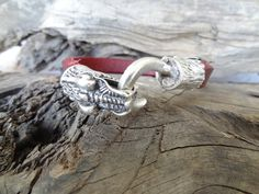 Men's Dragon Bracelet, Men's Burgundy Genuine Leather Bracelet, Silver Dragon Bracelet, Men's Jewelry, Gift for Him, Father!s Day by sevinchjewelry on Etsy