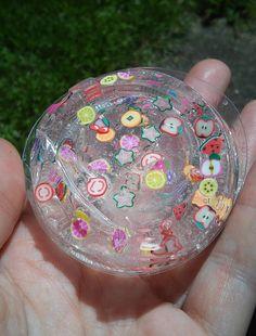 Clear Slime rainbow glitter slime fruit slice flowers fimo