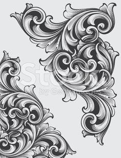Engraved Corner Scrolls royalty-free stock vector art