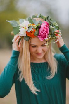 peony and ranunculus floral crown,   photography by Marvelous Things Photography