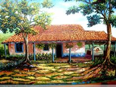 la casa de la terraza Jesus Helguera, House Yard, Digimon Adventure, Indian Paintings, Illustrations And Posters, Pictures To Paint, Beautiful Paintings, House Painting, Art Oil
