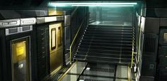 View an image titled 'Lower Tai Yong Stairs Art' in our Deus Ex: Human Revolution art gallery featuring official character designs, concept art, and promo pictures. Spaceship Interior, Futuristic Interior, Retro Futuristic, Environment Concept Art, Environment Design, Blade Runner, Deus Ex Human Revolution, Stair Art, Stairs Architecture