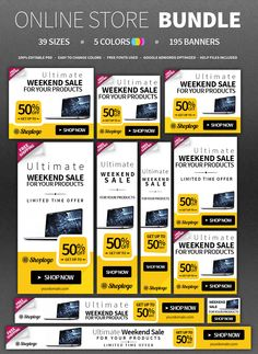 Awesome and Free Banner Ad Templates pack with 18 banner sizes ...