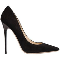 Jimmy Choo Women 120mm Anouk Suede Pumps ($520) ❤ liked on Polyvore featuring shoes, pumps, black, black suede shoes, pointy toe pumps, leather sole shoes, suede shoes and black high heel shoes