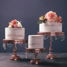 House of Hampton Mcgaughey 3 Piece Cake Stand Set Color: Rose Gold Country Wedding Cakes, Small Wedding Cakes, Floral Wedding Cakes, Wedding Cake Rustic, Rustic Cake, Elegant Wedding Cakes, Wedding Cake Designs, Wedding Desserts, Multiple Wedding Cakes