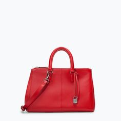 ZARA - NEW THIS WEEK - LEATHER CITY BAG WITH ZIPS