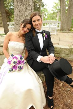 Lesbian wedding - love the black top hat! Gorgeous couple at the Starved Rock Lodge in Illinois