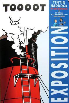 HERGÉ . TINTIN - Affiche d'expo Tintin, Haddock et les Bateaux 1999 1991