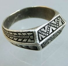"""English ca 1350-1400 engraved silver ring. The """"saddle"""" shape ring is normally used for engraved """"iconographic rings. The shape is a widely used form, both in gold and silver during the time..."""