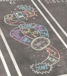 7 Outdoor Chalk Ideas for Spring and Summer Chalk Art Chalk chalk art sidewalk Ideas Outdoor Spring Summer Babysitting Activities, Summer Activities, Craft Activities, Toddler Activities, Outside Activities For Kids, Indoor Activities, Family Activities, Sidewalk Chalk Games, Sidewalk Art