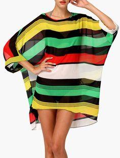COPRI COSTUME TUNICA MARE a strisce colorate, Colorful Striped Cover Up Tunic