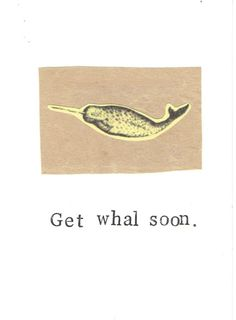 Get Whal Soon Card  Funny Get Well Vintage Narwhal Whale