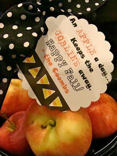 """Healthy Halloween Gift - """"An Apple a day keeps the Goblins Away.  Happy Fall!"""""""