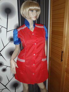 Nylon Kittel Schürze Nylon Glanz Blouse Frisör Hauskleid Kleid Apron Overall   eBay
