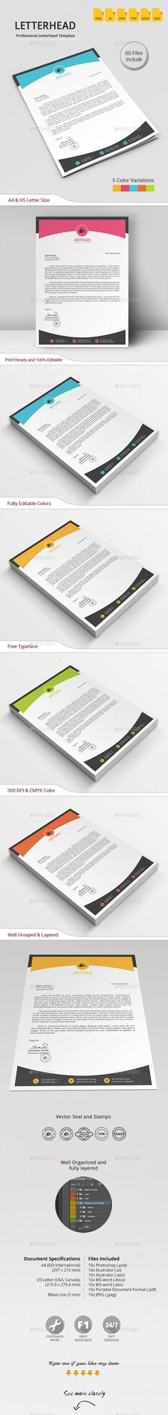 #Letterhead - #Stationery Print Templates Download here: https://graphicriver.net/item/letterhead/11767373?ref=alena994