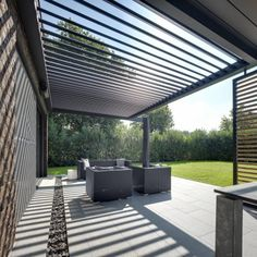 The Umbris Automated Outdoor Louvre Roof, is an all-weather patio roof system by IQ Glass that adjusts to filter sun and closes to shut out the rain. Pergola Ideas For Patio, Wood Pergola, Pergola Garden, Outdoor Pergola, Pergola Plans, Diy Pergola, Pergola Kits, Backyard Patio, Outdoor Decor