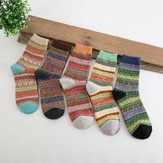 5 Pairs Men Women Cotton Geometry Stripe Deer Pattern Socks Design Multi-Color Casual Ankle Sock