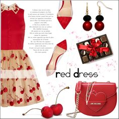 Red Dress by pat912 on Polyvore featuring Alice + Olivia, Gianvito Rossi, Love Moschino, women's clothing, women's fashion, women, female, woman, misses and juniors
